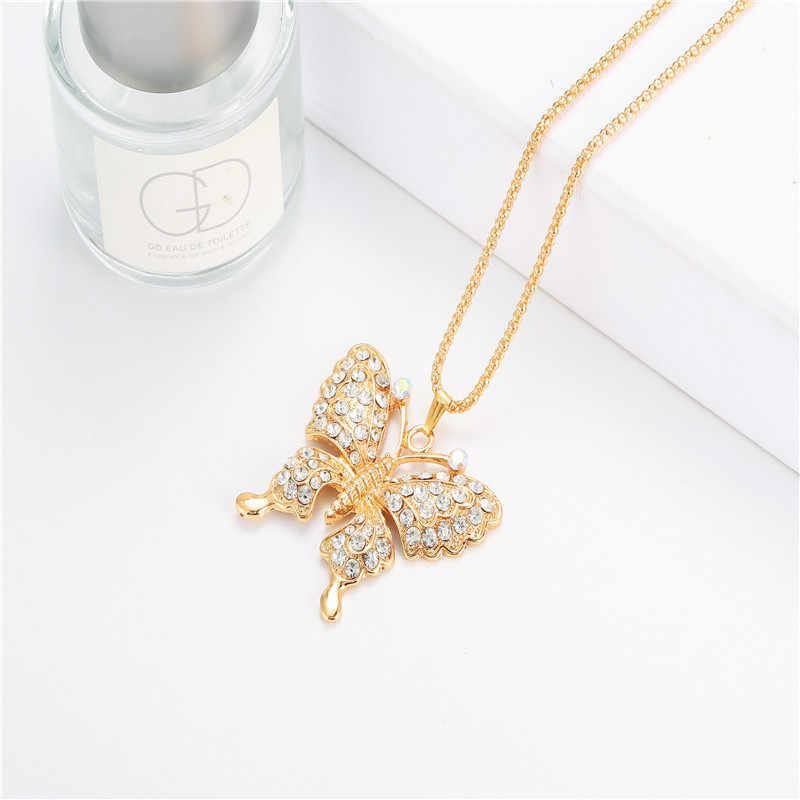 Las nuevas mujeres de moda exquisita mariposa de cristal llaveros de dije para bolso accesorios de los Hombres Calientes Mejor Moda par regalo joyería K2166