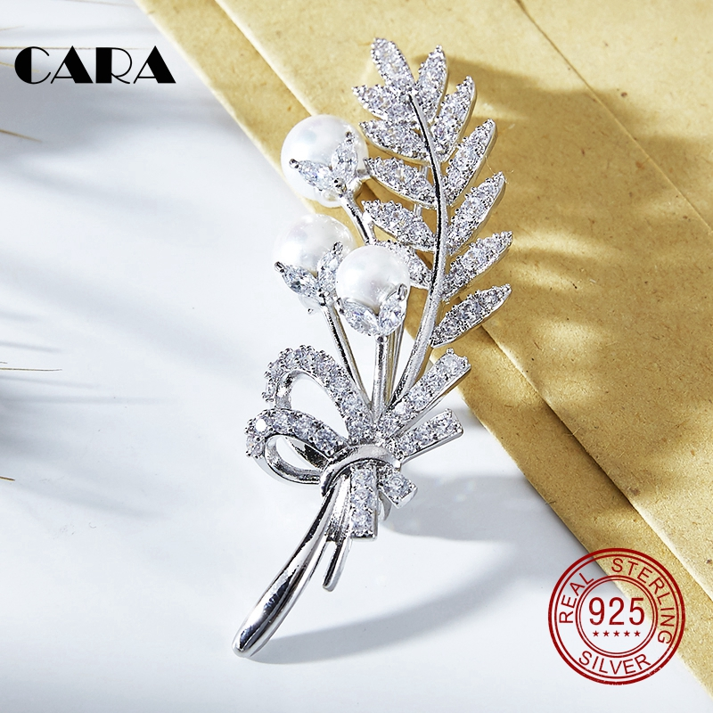 2018 NEW Elegant Gold Color Leaf branch Pearl Women Brooch Fashion alloy Brooches Pins mother's day gift jewelry CARA0058 elegant artificial gem oval rhinestone leaf floral brooch for women