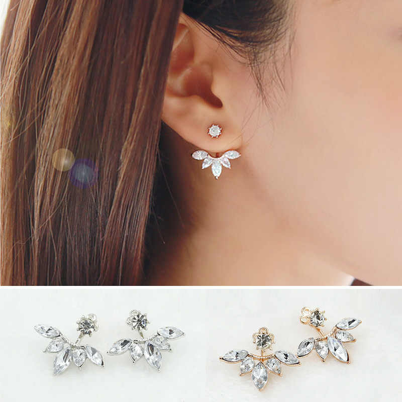 Flower Crystal Stud Earrings For Women Fashion Jewelry orecchini lotus Gold Silver pendientes mujer moda Brincos