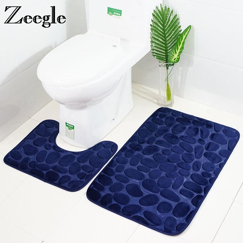Zeegle 3D Embossed 2pcs Bathroom Mat Set Anti slip Shower Mat Toilet Bath Rugs Memory Foam