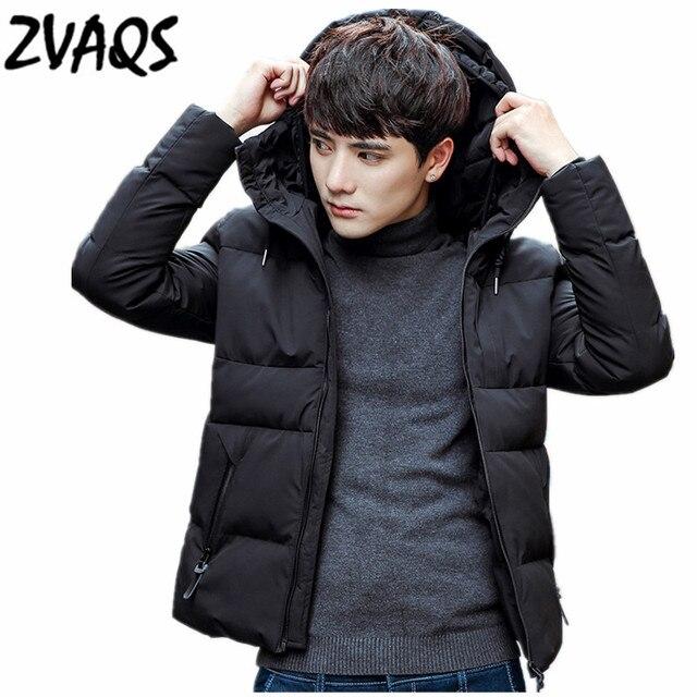 b360d6577 € 40.22 50% de DESCUENTO|ZVAQS Venta caliente 2018 Parkas negras versión  coreana Hombre Invierno moda con capucha chaqueta delgada de Invierno para  ...
