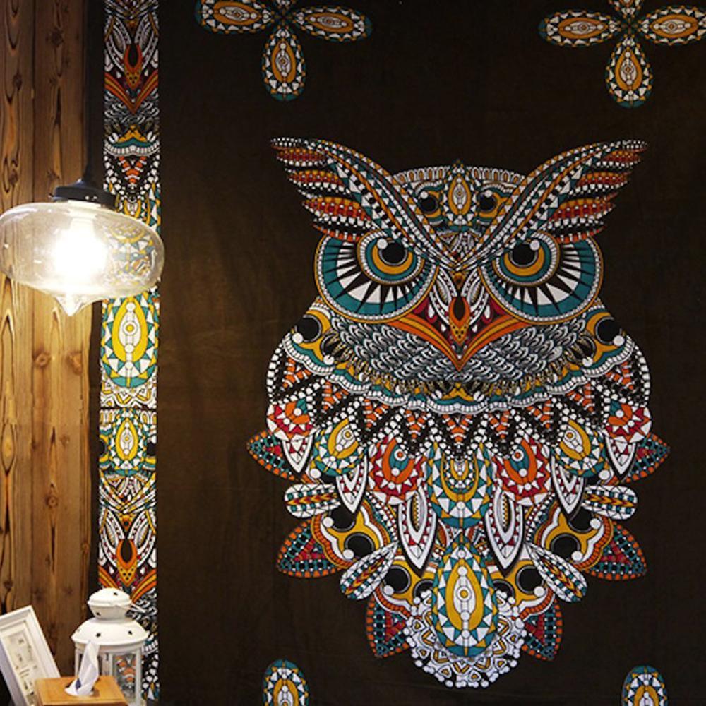 Indian Bohemia Mandala Tapestry Totem Owl Wall Tapestry Beach Mat Yoga Pad Blanket Camping Mattress Pad 200x150cm