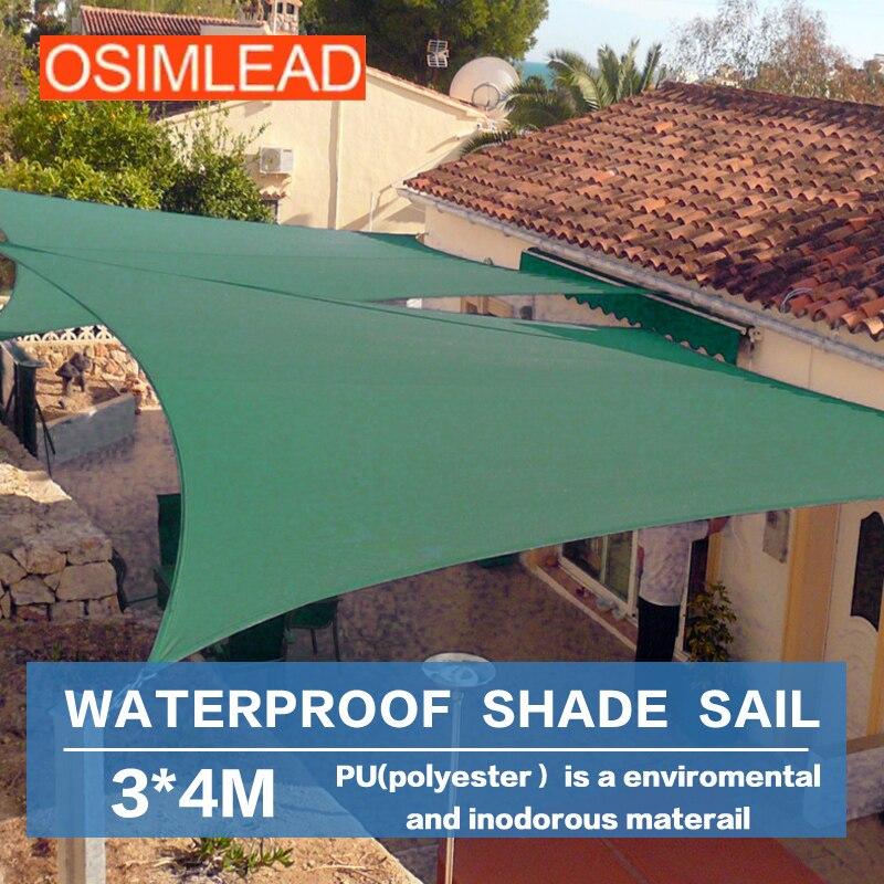OSIMLEAD 3*4 m waterproof sun shade sail RECTANGLE CANOPY ...