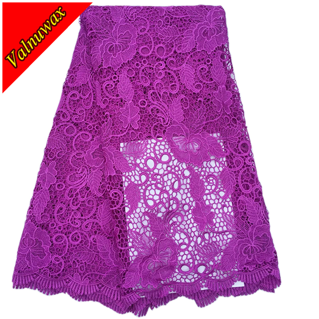 Latest African Nigerian Wedding Dress African Lace Fabrics Purple Water Soluble Cord Lace Guipure Lace Fabric 5 Yards/lot YJ