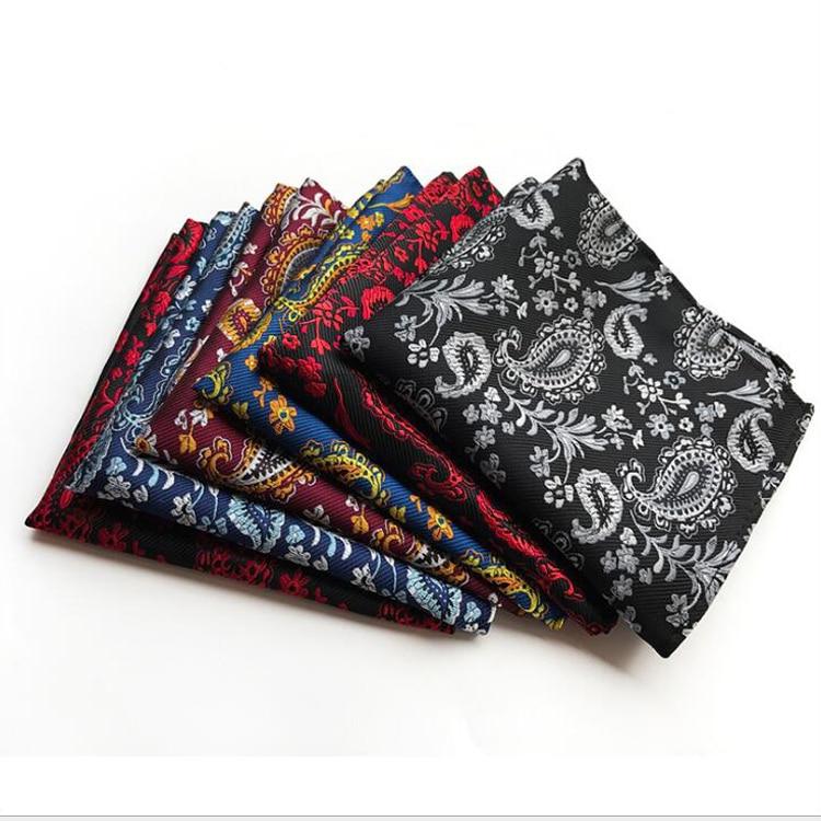 25x25cm Big Size Men Pocket Square Elegant Paisley Pattern Handkerchief For Wedding Party