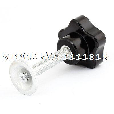 M8 Male Threaded 40mm Star Head Plastic Metal Clamping Knob Grip Black m12 female thread metal plastic clamping star knob grip black silver tone