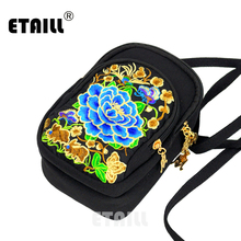 ETAILL 3 Zippers Vintage Ethnic Women Fashion Canvas Crossbody Messenger Bag National Style Small Embroidered Shoulder