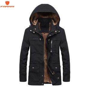 Image 1 - Plus velvet Men Winter Jacket 4XL 5XL Parka Fleece Fur Hooded Military Jacket Coat Pockets Windbreaker Jacket Men