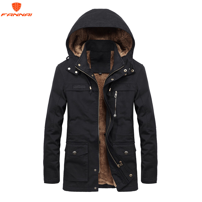 Plus velvet Men Winter Jacket 4XL 5XL   Parka   Fleece Fur Hooded Military Jacket Coat Pockets Windbreaker Jacket Men