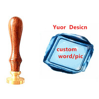 Vintage Custom Made Your Design Letter Picture Logo Personalized Wedding Invitation Wax Seal Stamp Rosewood Handle