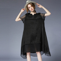 Plus size dresses summer women Elegant dress Chiffon loose crew neck high waist dress short sleeve irregular flash dressess