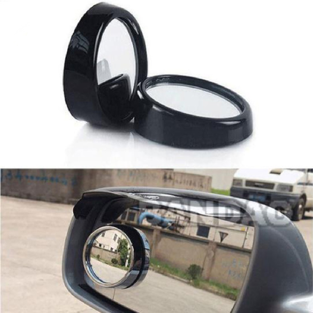 Adjustable 360 degree mirror rotation Angle Round Convex Blind Spot Mirror Rear View Messaging Car Vehicle the black