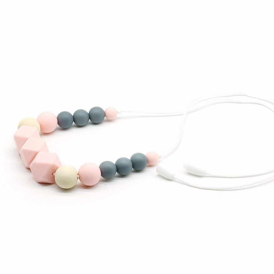 BPA Free Silicone Teether, Baby Teething Necklace, Infant Babes Nursing Breast Feeding Necklace Toy, Mom Chewable Jewelry