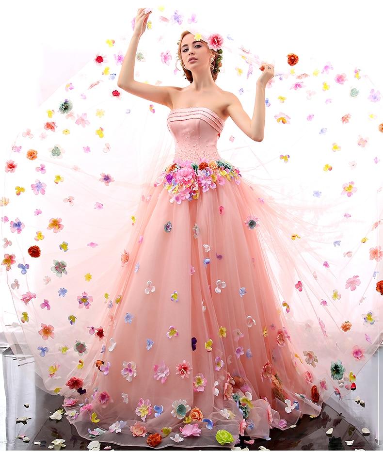 100% real de lujo Crystal rebordear velo flor bola vestido medieval ...