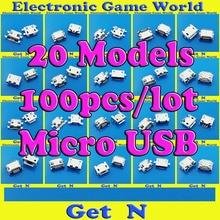 20Models 100pcs/lot Universial Micro USB 5P Jacks Connector Tail Charging socket for ZTE Lenovo Huawei Mobile Phone Tablet