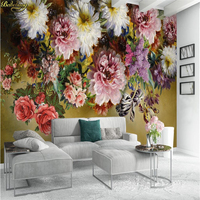 Beibehang Custom Photo Wallpaper Mural European Retro Hand Painted Rose Flower TV Background Wall Wall Papers