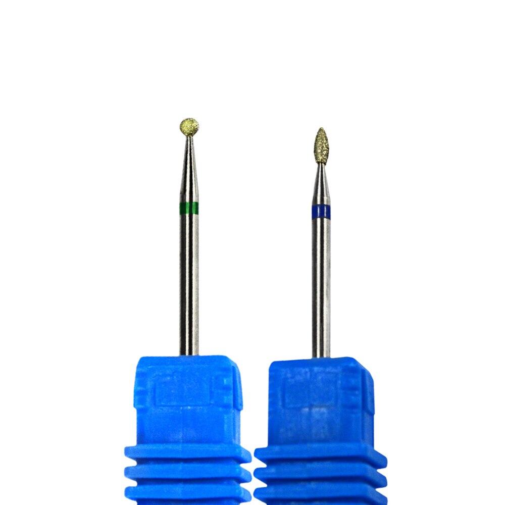 2Pcs/set Diamond Rotary Burr Cuticle Nail Drill Bit Manicure ...
