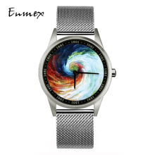 2019 Enmex design wristwatch 3D Rainbow Vortex creative stainless steel case Oil Painting face  quartz clock watch