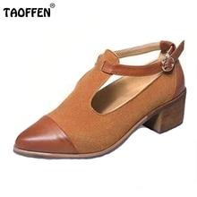 Taoffen/женщин квадратный каблук винтажные Обувь женщина классика острый носок ботинки на каблуках дамы T-Strap Heeled Обувь размер 35-39 Z00280