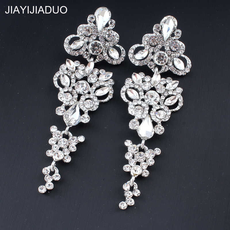 Jiayi Jiadu Luxury Earrings for Women Gold/Silver Crystal Rhinestone Bridal Long Earrings Wedding Jewelry Dropshipping  New