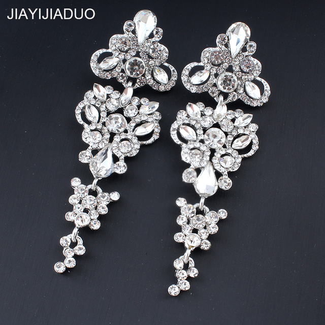 Jiayi Jiadu Роскошные серьги для женщин золото/серебро со стразами Свадебные Длинные свадебные украшения дропшиппинг Новый