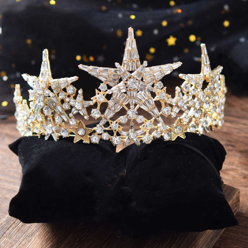 Himstory ใหม่ Big Star ขนาดเจ้าสาวงานแต่งงาน Tiaras มงกุฎคริสตัล Rhinestone Crystal Queen Crown อุปกรณ์เสริมผม