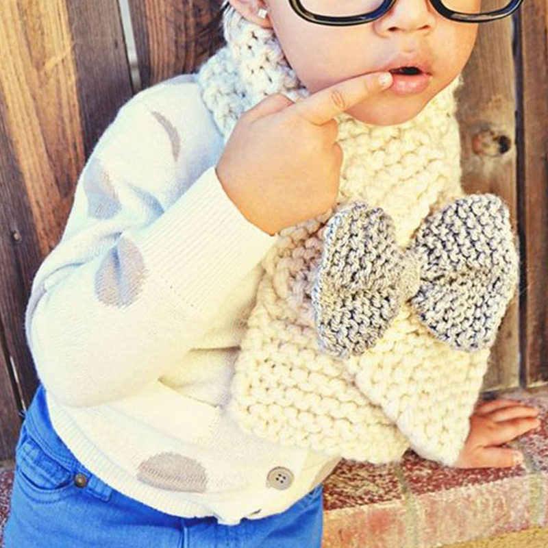 Детский мягкий вязаный шарф, модные шерстяные теплые шарфы с воротником для девочек, зимние шарфы с большим бантом, шарф-кольцо, глушители, аксессуары для одежды