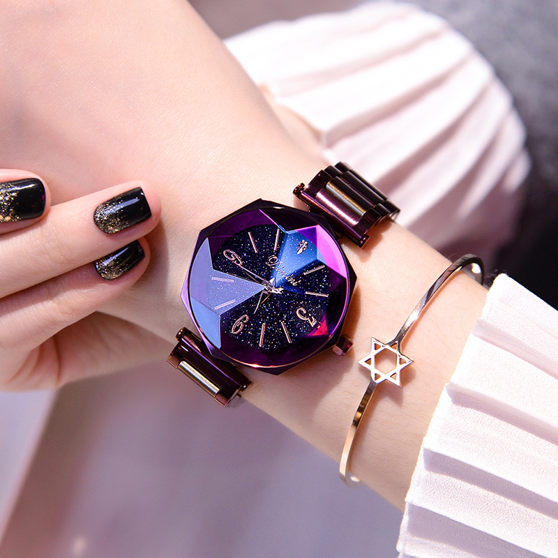 2018 Luxury Brand Lady Crystal Wrist Watch Women Starry sky Fashion Rose Gold Quartz Watches Female Stainless Steel Wristwatches недорого