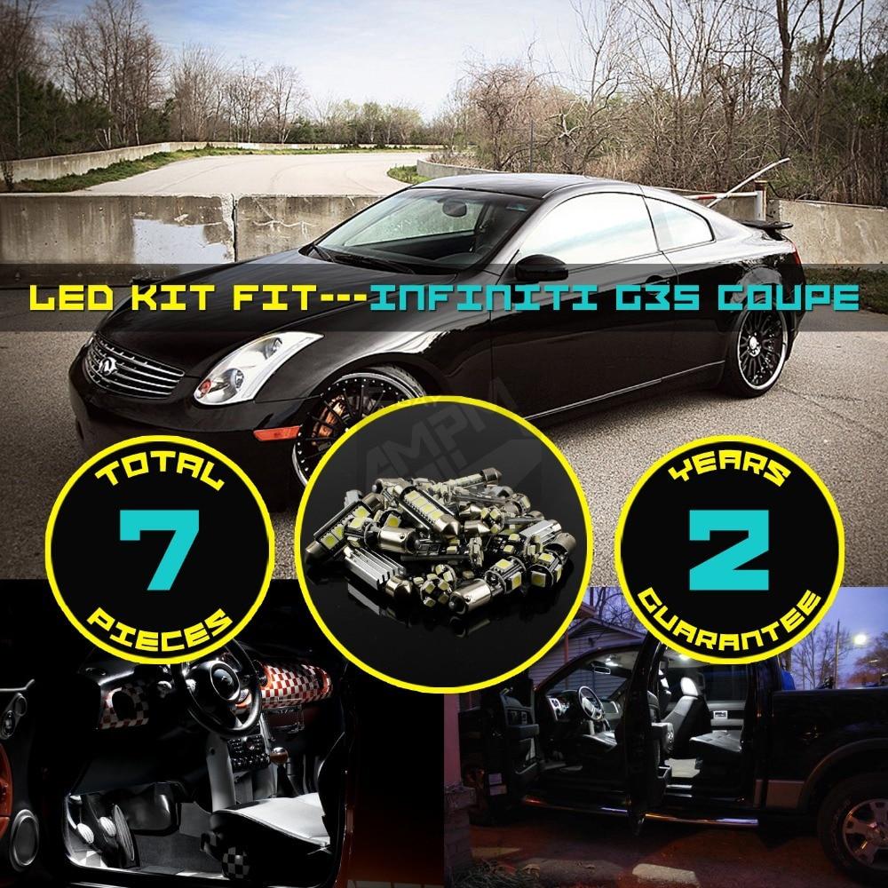 bc3bea3df 7x في Canbus خالية من الأخطاء LED السيارات الداخلية سقف قبة خريطة لوحة  ترخيص الجذع/البضائع منطقة ضوء كيت الأبيض/ الأزرق ل G35 كوبيه #115