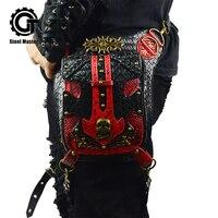 Steel Master Retro Red Pocket Men's Fashion Casual Shoulder Waist Bag Messenger Waist Bag Steampunk PU Leather Wallet