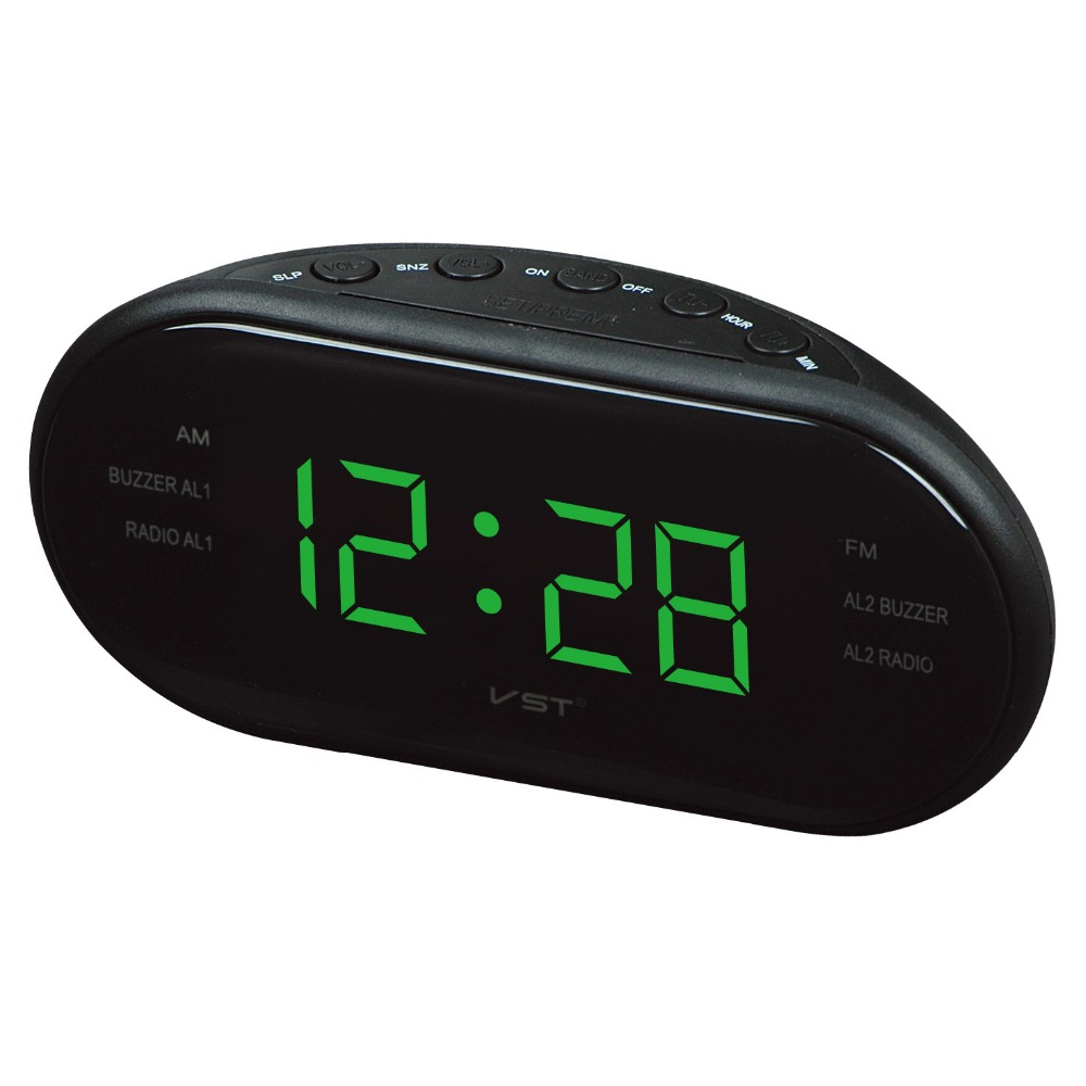 Hot Led AM FM Radio Digital Table Alarm Clock Vst Desktop Digital Bedside Alarm Clock Home Decor Despertador Radio Backlight image
