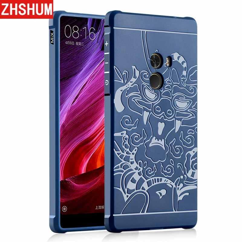 Funda de lujo para Xiaomi mi x mi x2 Funda de silicona suave dragón Funda de protección Noble 360 Funda trasera completa para mi x 2 Funda Caso