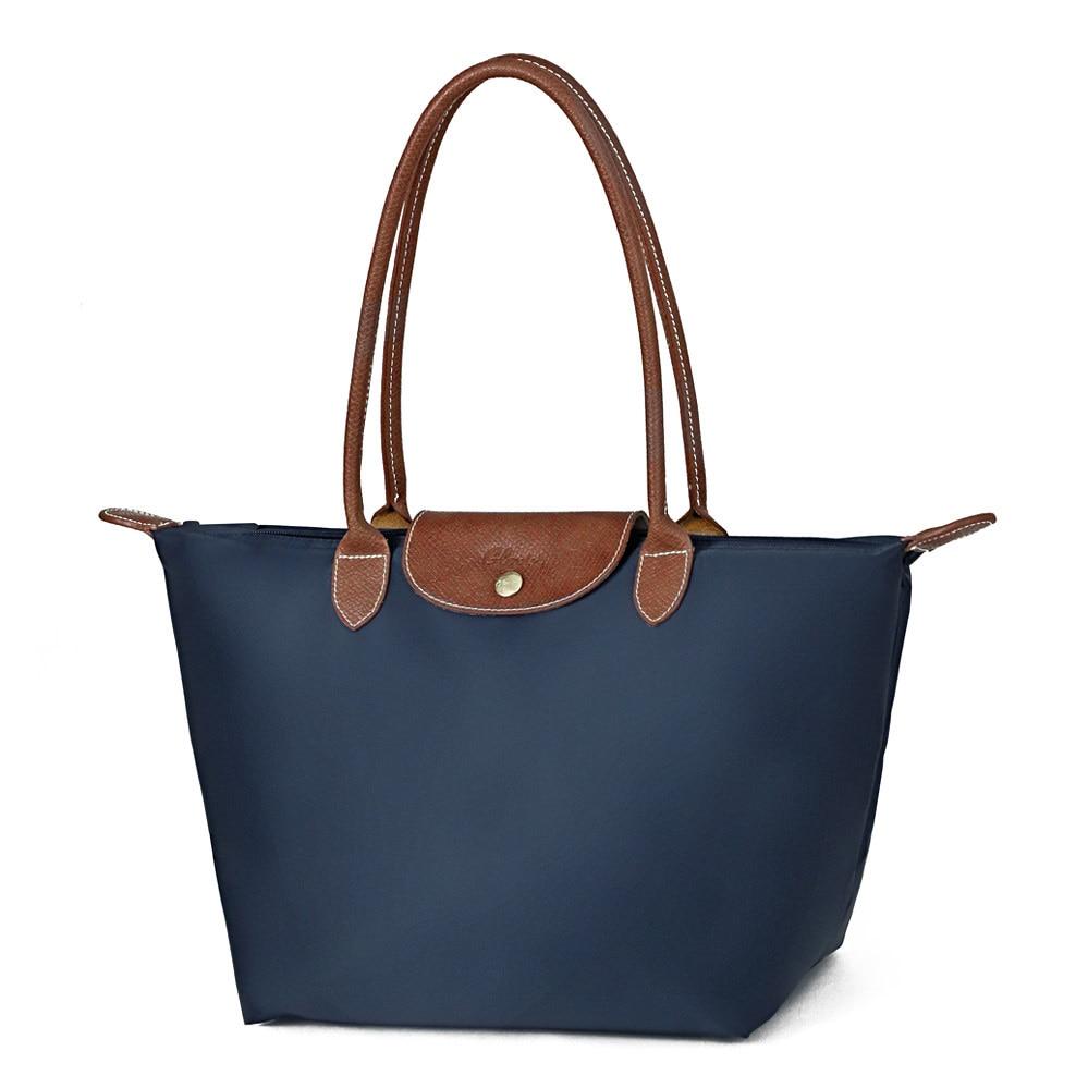 Fashion Waterproof Nylon Shopping Bag Women Foldable Shoulder Bag Handbag Ladies Simple Casual Lightweight Hobo Bag