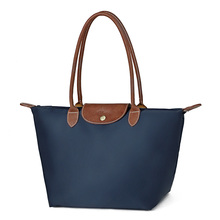 Fashion Waterproof Nylon Shopping Bag Women Foldable Shoulder Bag Handbag Ladies Simple Casual Lightweight Hobo Bag