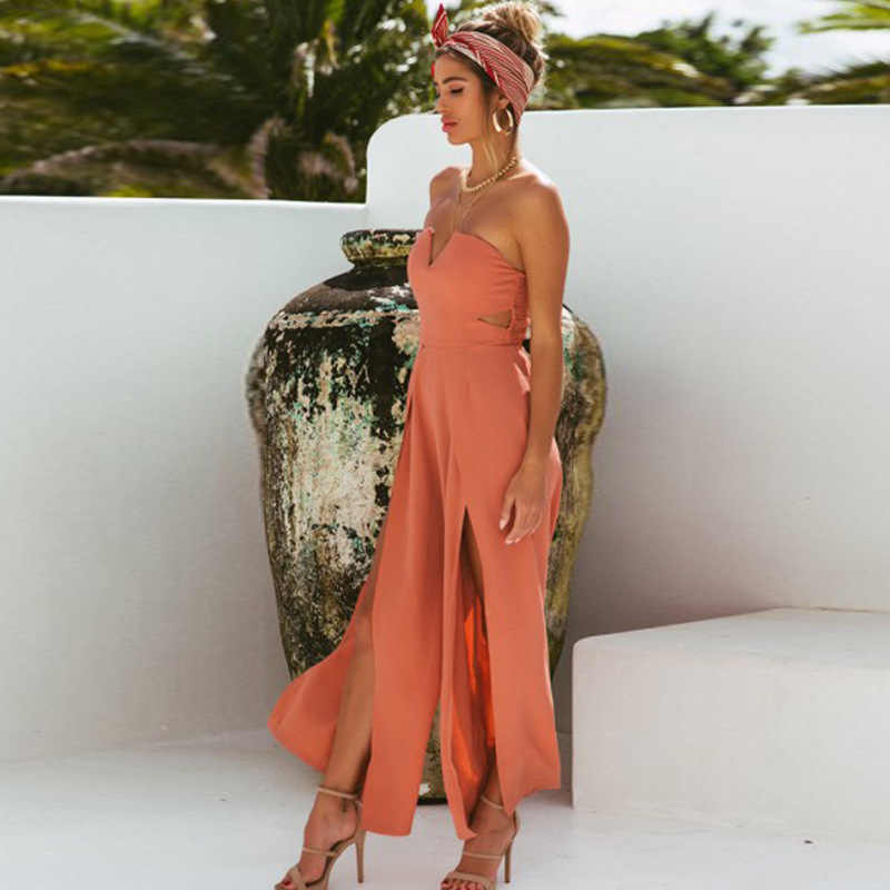 1c9da8b5a1c Missufe Slash Neck Backless Jumpsuit Off Shoulder Tunic Split Long Playsuit  Loose Summer Rompers Tunic Casual