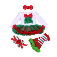 4 Stks Baby Meisje Kleding Set Xmas Baby Kerst Nieuwjaar Jurk Prinses Meisjes Baby Kleding Kerstman Romper vestido infantil