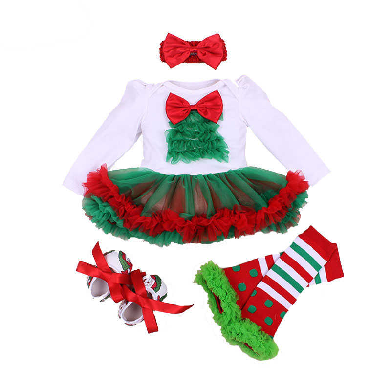 4Pcs Baby Girl Clothes Set Xmas Baby Christmas New Year Dress Princess Girls Infant Clothing Santa Claus Romper vestido infantil 4pcs set baby girls clothing newborn baby clothes christmas infant jumpsuit clothes xmas bebe suits toddler romper tutu dresses