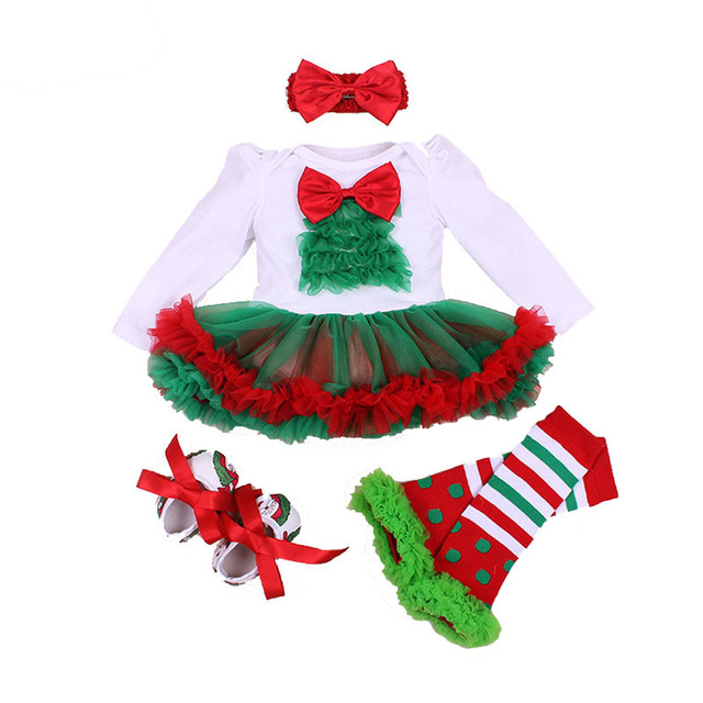 2e273daabd22 4Pcs Baby Girl Clothes Set Xmas Baby Christmas New Year Dress ...