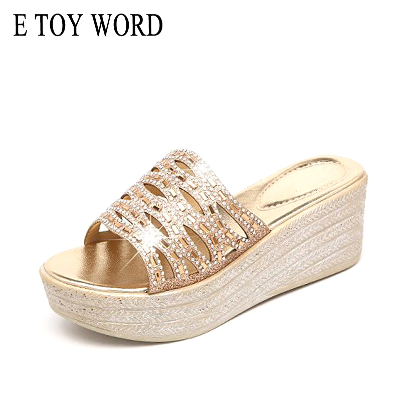 E TOY WORD 2018 summer shoes rhinestone slippers mother women soft bottom slippers sequins open toe wedges non-slip flat sandals 2016 summer style transparent sandals white gauze flat point diamond women s sandals flat shoes non slip soft bottom shose