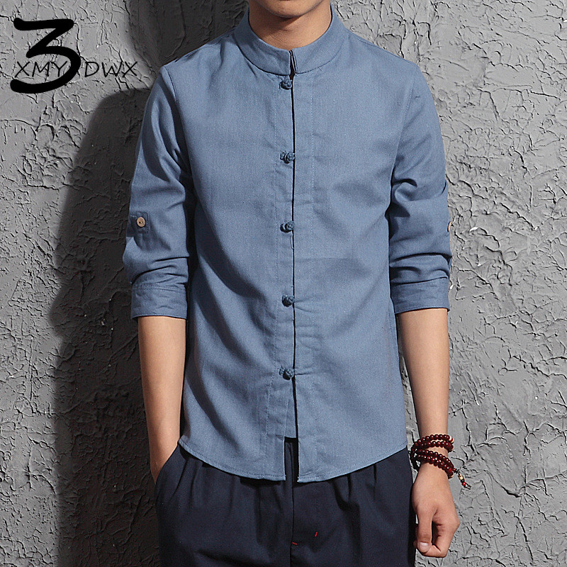 XMY3DWX Fashion men s summer slim Fit leisure Linen with seven sleeves shirts male Stand collar