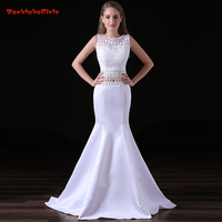 New Arrival Pure White Folk Custom Long Evening Dress Lace Tassel Suit Mermaid Real Photo Customized