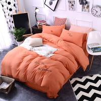 Spring Washed Cotton Princess Wind Embroidery Orange Bedding Sets Duvet Cover Set Bed Sheet Pillowcase King