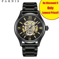Parnis автоматические Для мужчин, часы с изображением черепа со светящимся скелетом Self часы с автоподзаводом мужские черные Bay кожаный сапфир