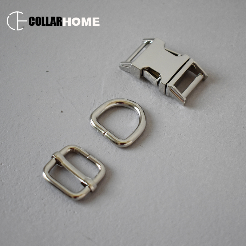 10 sets plated metal adjusters belt buckle 5 8 quot 15mm webbing D rings for bag dog pet collar supplies DIY accessories sliders in Buckles amp Hooks from Home amp Garden