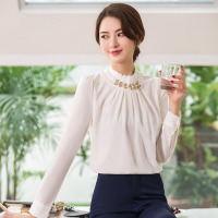 Women Work Wear Women's  Business Dress Knee Long-Sleeved With Beads Neck Coat+Dress+Shirt 3 Pcs / Set  Drop Shipping