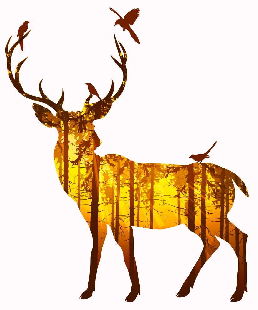 소나무 숲 캔버스 아트 인쇄 포스터, 홈 장식, 홈 장식 벽 그림으로 사슴의 실루엣