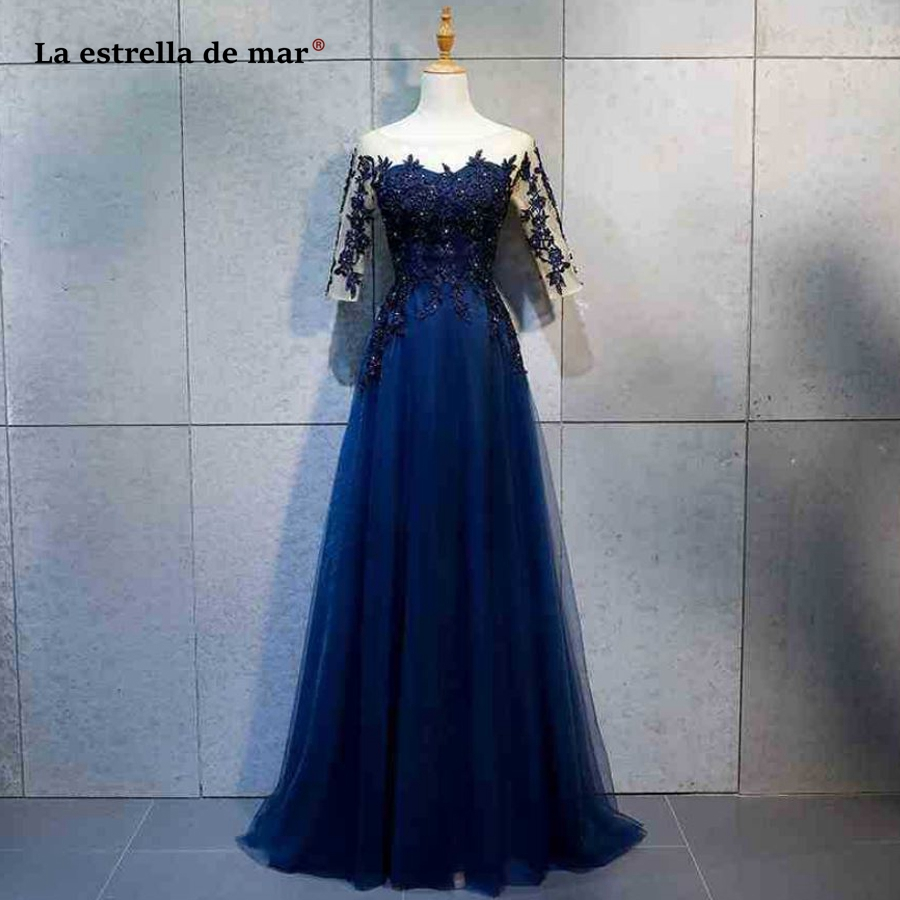 Vestido Madrinha New Tulle Beaded Half Sleeve A Line Navy Blue Bridesmaid Dress Long Wedding Guest Dress Cheap Brautjungfernklei