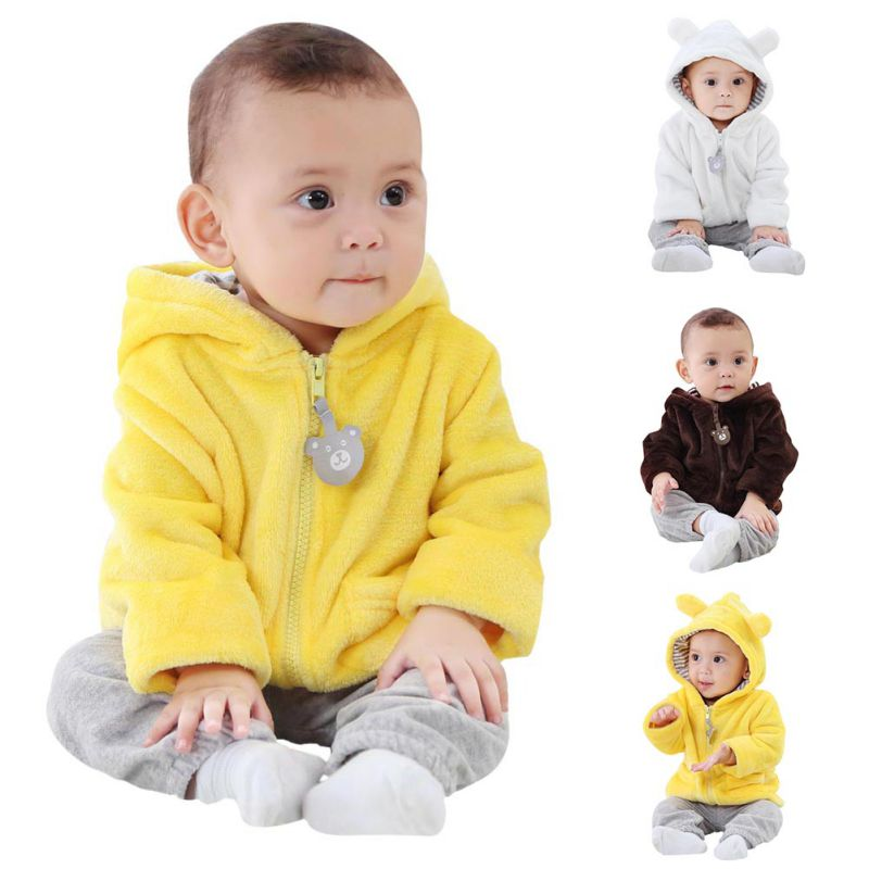 Infant Clothing Tops Fashion Baby 6-24M Newborn Baby Girls Boys Solid Long Sleeve Hooded Ears Cute Outerwear Jackets Coats(China)