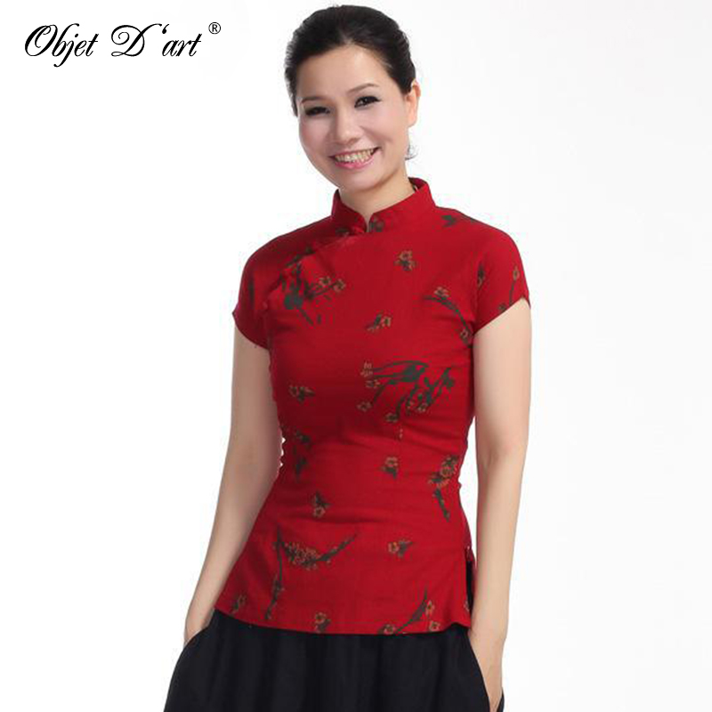 Wholesale Floral Print Short-Sleeve Tang Suit Women Top Cheongsam Clothes Summer Chinese Style Cotton Qipao Blouse S-XL