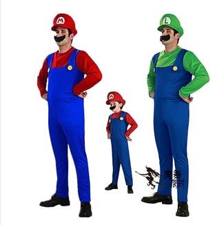 Маскарад Хелоуин косплей костюм възрастен дете Супер Марио костюм мъж облекло